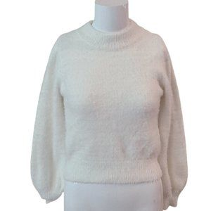 [GB] White Fluffy Sweater- Size XS